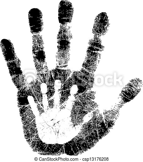 Adult and child hand print - csp13176208
