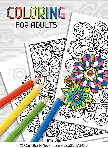 Adult coloring book design for cover. illustration of trend item to ...