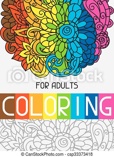 Adult coloring book design for cover. illustration of trend ...