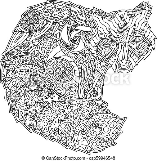 Adult coloring book page with funny raccoon - csp59946548