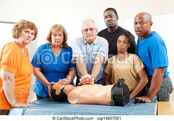 Adult Education Class - First Aid - Serious - csp14607051