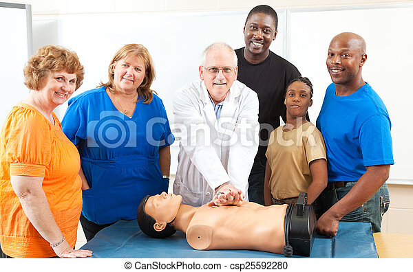 Adult Education First Aid Class - csp25592280