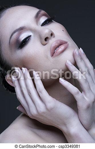 Adult pretty woman stylish portrait. Skin texture saved - csp3349381