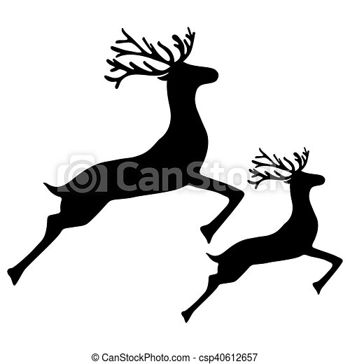 Adult Reindeer and baby deer jumping - csp40612657