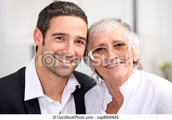 Adult son and his aging mother - csp8840645