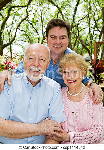 Adult Son & Elderly Parents - csp1114542