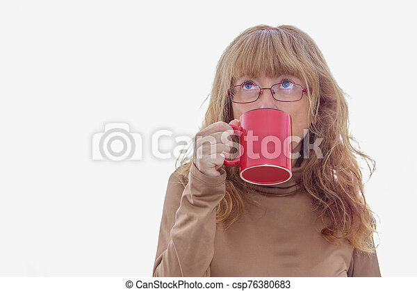 adult woman with coffee cup isolated on white background - csp76380683