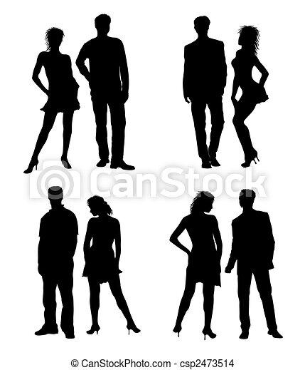 adultes, couple, jeune, silhouettes, noir, blanc - csp2473514