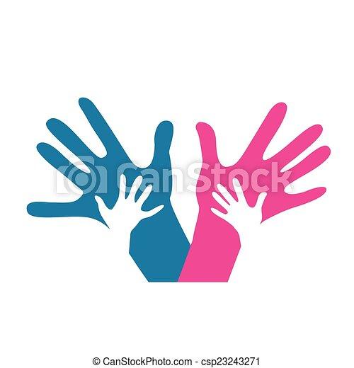 Adultes enfants ensemble mains illustration vecteurs - Dessin main enfant ...