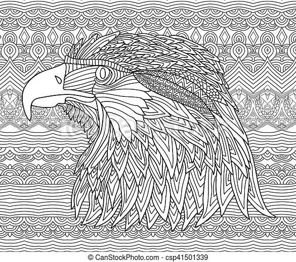 Adults., águila, colorido, figura, zenart., patrones, hand-drawn ...