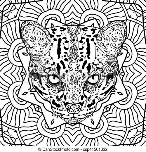 Adults Arte Tribale Pattern Gatto Colroing Fondo Selvatico