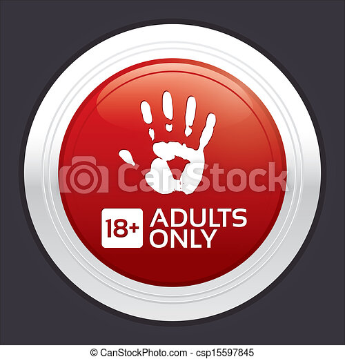 Adults only content button. Red round sticker. - csp15597845