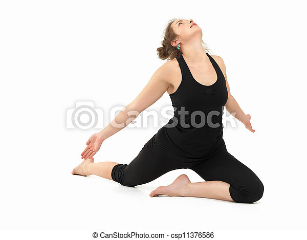 advanced yoga practice posture young slim girl in