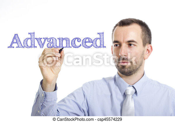 Advanced - Young businessman writing blue text on transparent surface - csp45574229