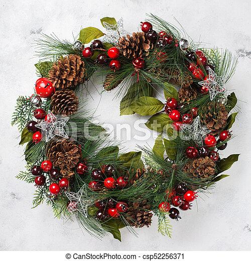 Advent Christmas Door Wreath With Festive Decoration   Csp52256371