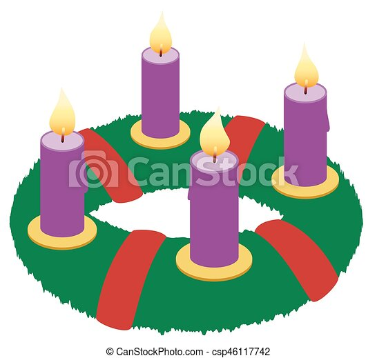Advent Wreath Illustration Icon Symbol Advent Wreath With Burning