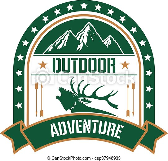Adventure club badge design with deer and mountain - csp37948933