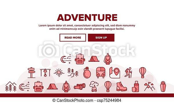 Adventure Landing Header Vector - csp75244984