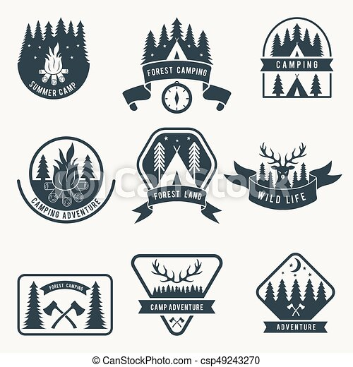 Adventure monochrome badges set. silhouette of tent. camping vector ...