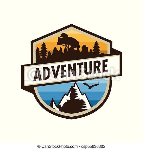 Adventure Outdoor Unique Shield Badge Design - csp55830302