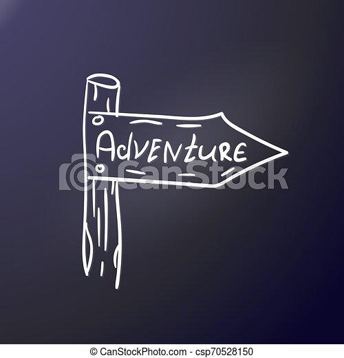 Adventure Post Pointer Outdoor Sticker Print On Textile Club Shirt Graphic Design Vector Illustration Gray Contour Travel Lifestyle Pattern