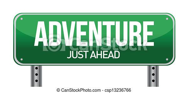 Adventure Road Sign Illustration Design Over A White