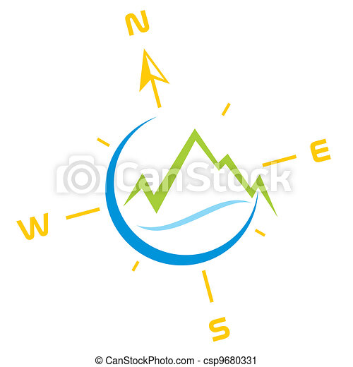 Adventure Symbol Symbol Of Mountains With River And Compass Vector