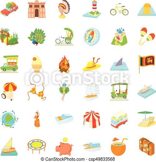 Adventure travel icons set, cartoon style - csp49833568