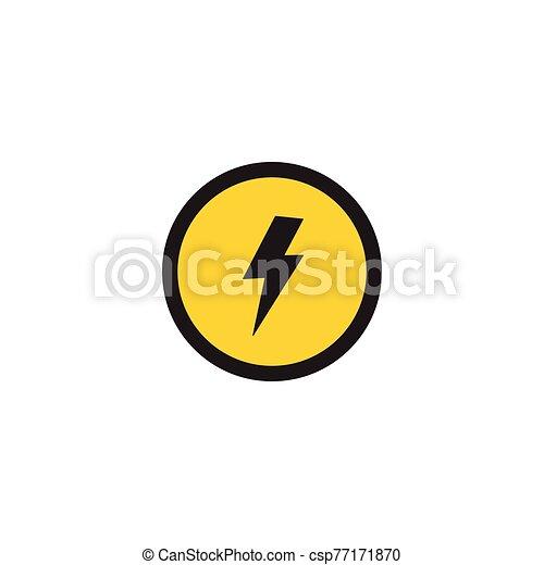 advertencia, vector, huelga, relámpago, ilustración, círculo, isolated., símbolo, bandera - csp77171870