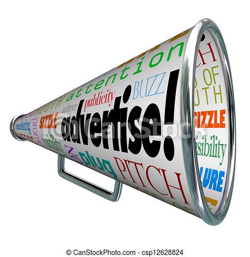 Advertise Bullhorn Megaphone Words of Marketing - csp12628824
