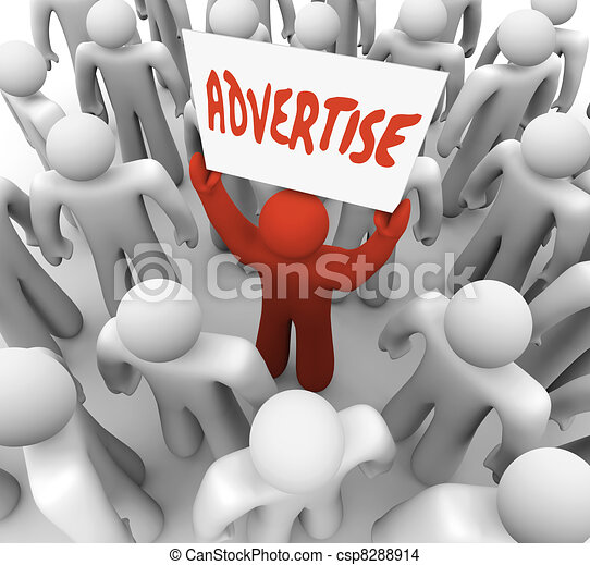 Advertise Man Holds Banner Sign to Attract Customers in Crowd - csp8288914