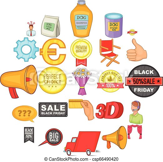 Advertisement icons set, cartoon style - csp66490420