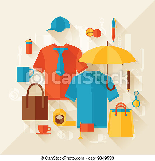 Advertising background with promotional gifts and souvenirs. - csp19349533