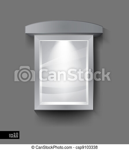 Advertising board with light. Editable vector object for ...