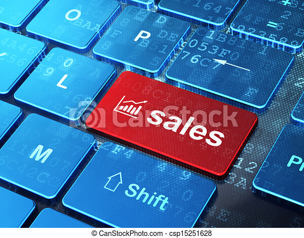 Advertising concept: computer keyboard with Growth Graph icon and word Sales on enter button background, 3d render - csp15251628
