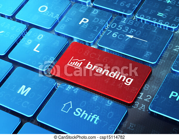 Advertising concept: computer keyboard with Growth Graph icon and word Branding on enter button background, 3d render - csp15114782