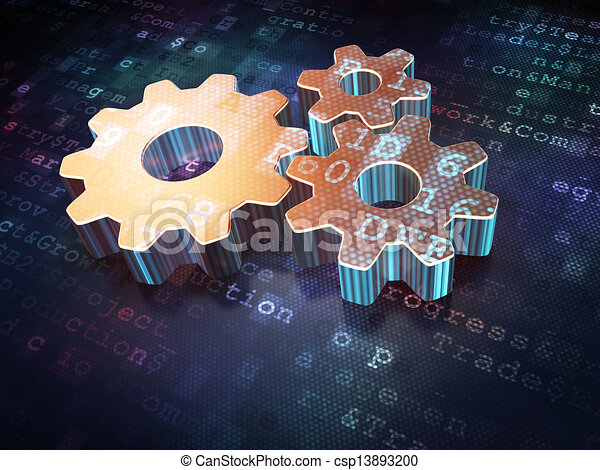Advertising concept: Golden Gears on digital background - csp13893200