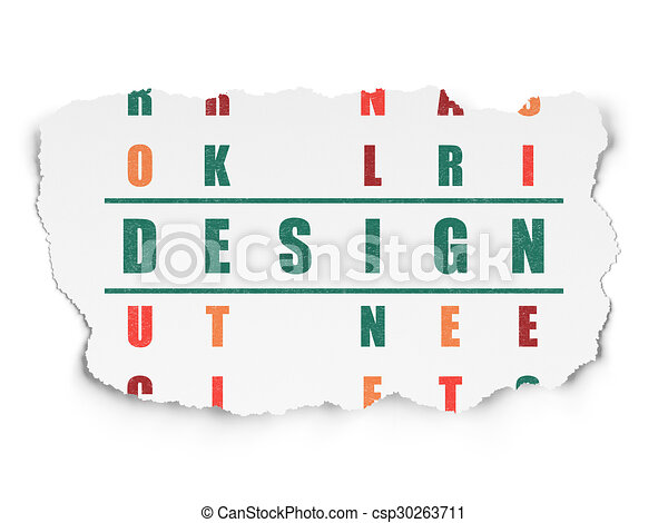 Advertising concept: word Design in solving Crossword Puzzle - csp30263711
