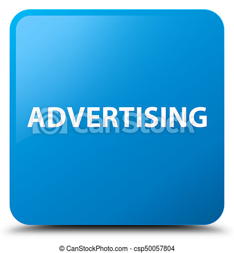 Advertising cyan blue square button - csp50057804