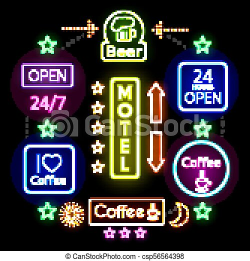 Advertising Neon Signs Concept - csp56564398