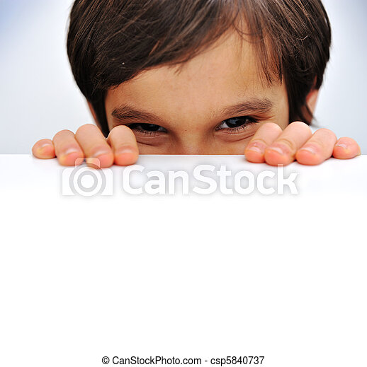 Advertising place for you, empty card, cute kid holding it - csp5840737
