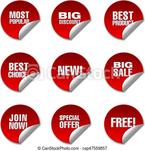 Advertising promotion discount stickers csp47559857