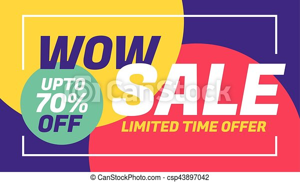 advertising sale banner design with colorful background - csp43897042