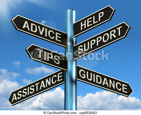 Advice Help Support And Tips Signpost Shows Information And Guidance - csp9530401