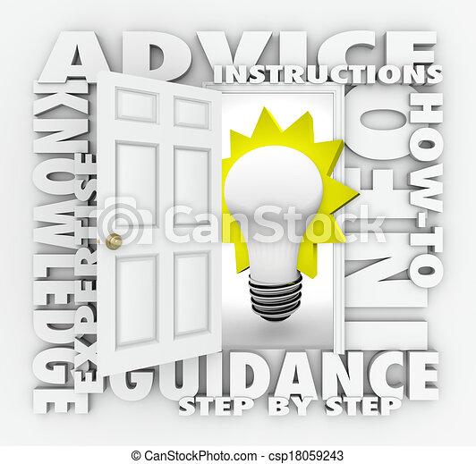 Advice Instructions How-To Info Word Door Opening Ideas - csp18059243