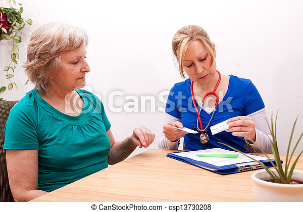 Advising a Senior on the dose of medication - csp13730208