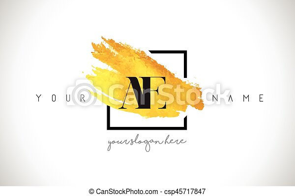 df882bd62064 Ae golden letter logo design with creative gold brush stroke and black frame .