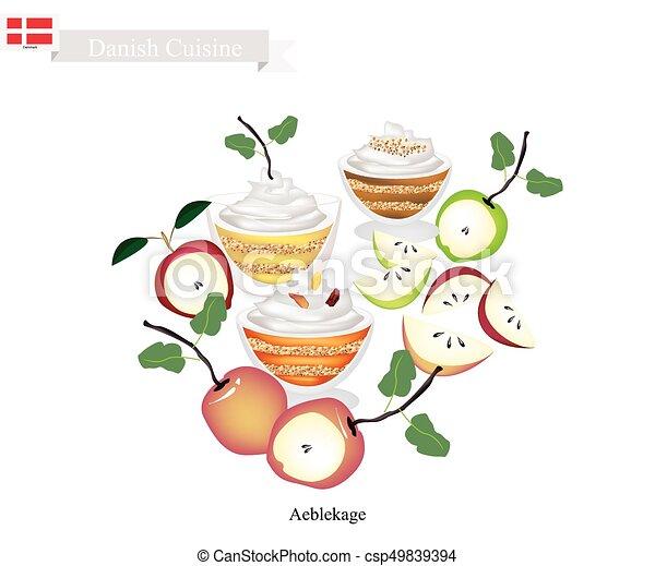 Aeblekage or Apple Cake, Popular Dessert in Denmark - csp49839394