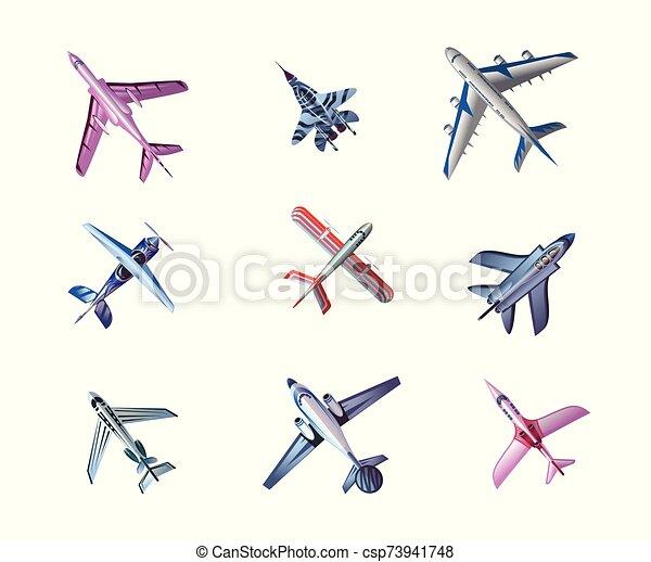 aerei, fondo, differente, vettore, illustrazione, set, aeroplano, vista - csp73941748