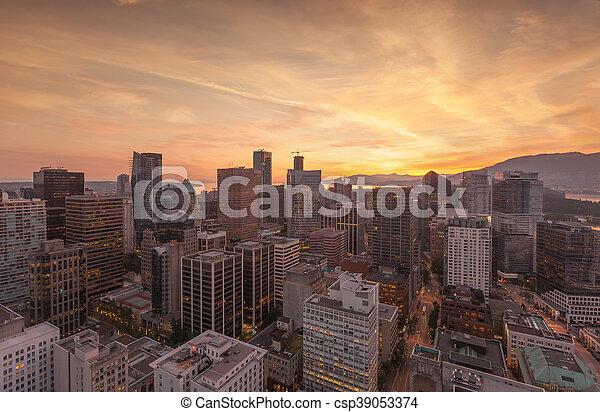 aereo, panorama, orizzonte, vancouver - csp39053374